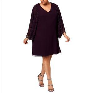 Betsy & Adam Purple Embellished Dress